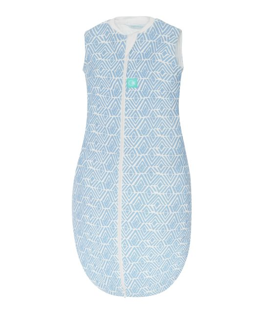 ergoPouch Jersey Sleeping Bag 0.2 TOG Tribal Blue Baby in Cot
