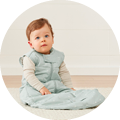Sheeting Sleeping Bag is best for infants who are rolling and sitting, and toddlers.